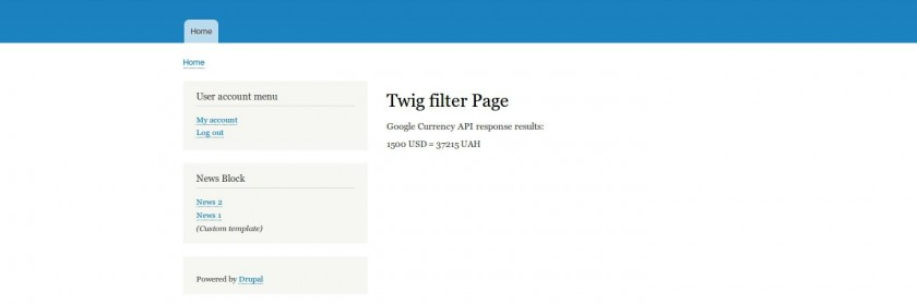 Twig filter page